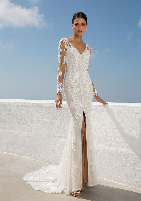 90c9b006a927 Justin Alexander - Style 88008: V-Neck Lace Gown with Illusion Longsleeves