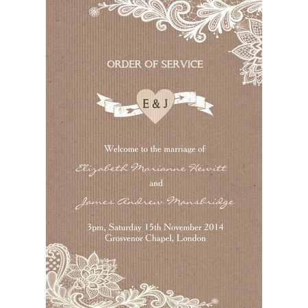 Part Of Our Rustic Lace Collection This Pretty Order Service Cover Design Includes A