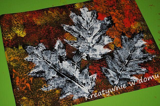 Jesienny obrazek liśćmi malowany | Kreatywnie w domu