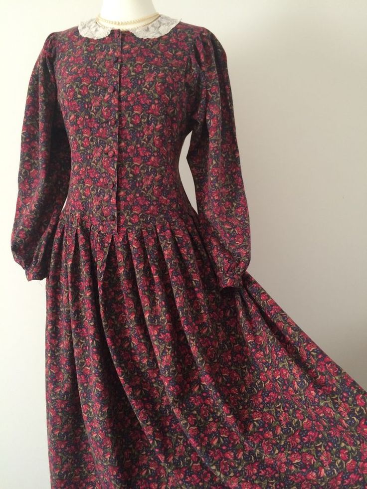 VINTAGE LAURA ASHLEY RED FLORAL COTTON WOOL LACE COLLAR AUTUMN DRESS 10-12UK #LauraAshley