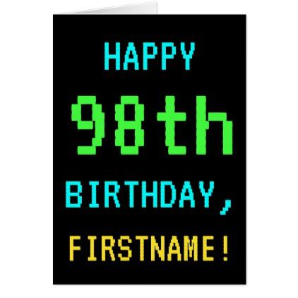 Fun Vintage/Retro Video Game Look 98th Birthday Card - birthday gifts party celebration custom gift ideas diy