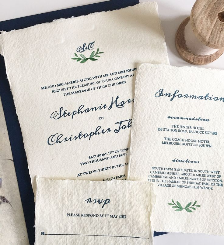 letterpress wedding invites london%0A Fleur    cotton rag paper with deckled edge  letterpress  watercolour  leaves and cornflower    Wedding Invitation