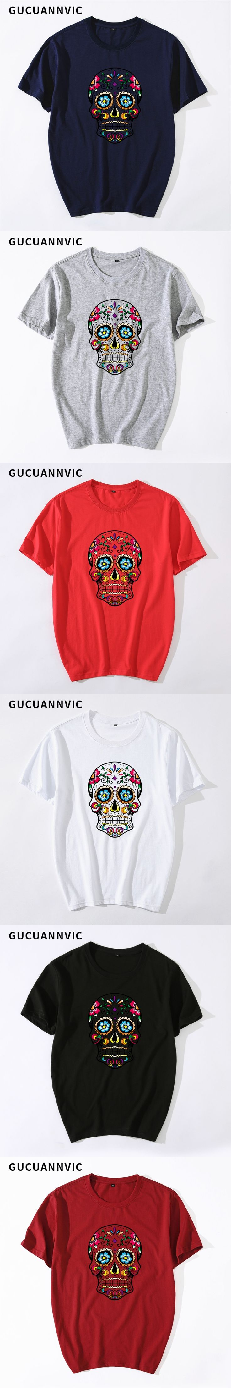Style shirt men short-sleeved loose scary pattern top shirt casual suitable popular tee shirt brand printing round neck T-shirt