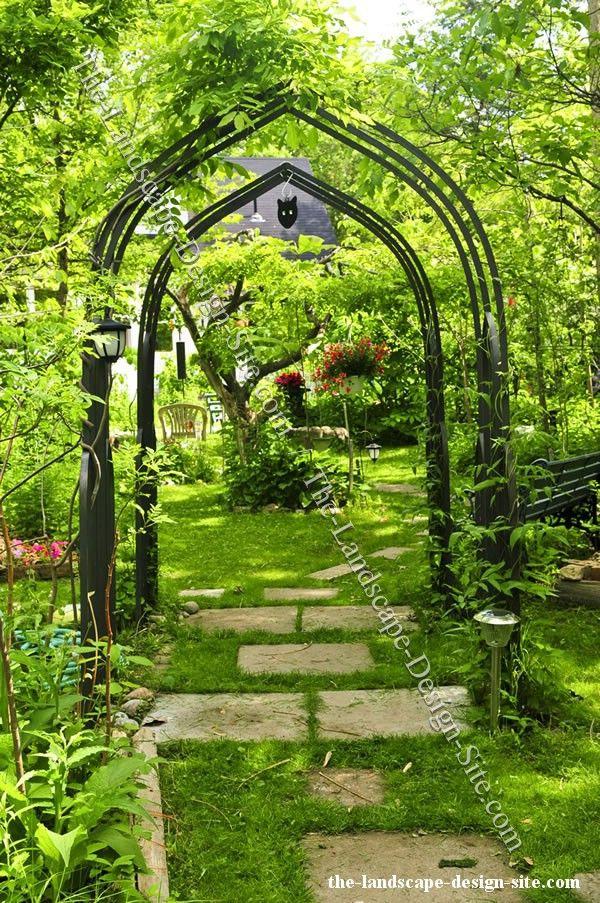 Iron garden arbor outdoor spaces pinterest for Garden arbor designs