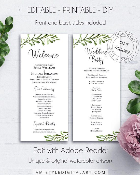 Wedding Reception Program Template With Stylish And Modern Watercolor Greenery Branches In Rustic Style Thi Wedding Reception Program Wedding Wedding Programs