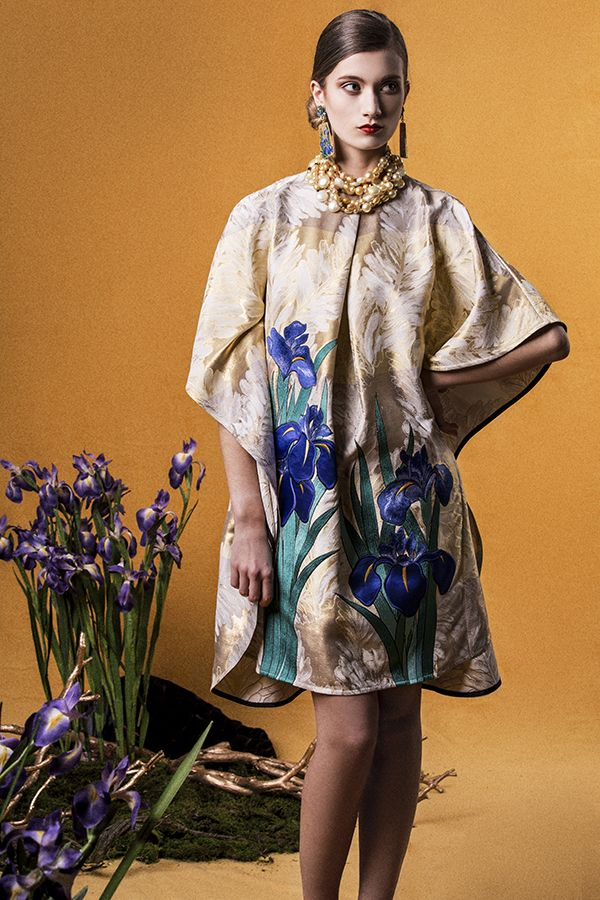 "Yumi Katsura/ ""GLORIOUS RIMPA"" SS2015  IRIS EMBROIDERED FLAIR DRESS"