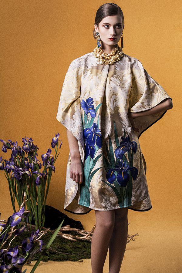 "Yumi Katsura/ ""GLORIOUS RIMPA"" SS2015  IRIS EMBROIDERED FLAIR DRESS"
