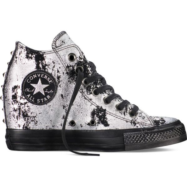 Converse Chuck Taylor All Star Lux Hardware – grey Sneakers ($95) ❤ liked on Polyvore featuring shoes, sneakers, grey, star sneakers, converse trainers, grey wedge sneakers, wedge heel sneakers and wedge heel shoes