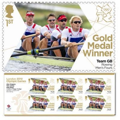 Gold medal winner stamp - Alex Gregory, Pete Reed, Tom James, Andrew Triggs Hodge, Rowing Men's Fours