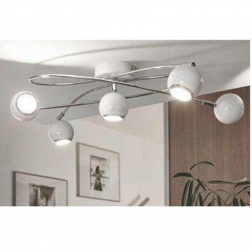 Locanda biała nowoczesna lampa sufitowa z zawijanymi ramionami klosze metalowe…