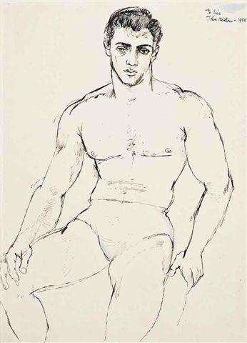 John Minton (1917-1957), Young man, seated, 1955