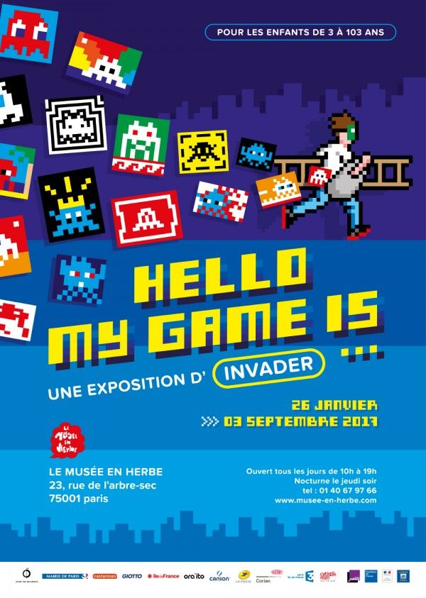 Invader, Hello My Game Is... au Musée en Herbe. Affiche