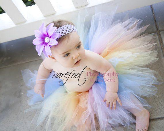 Birthday Girl Tutu - Pastel Rainbow Tutu - Spring Delight Pixie - 11'' pixie tutu - Custom SEWN Tutu - Photo Prop Tutu - up to 5T