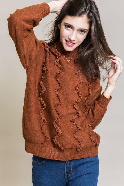 Misha Zig Zag Sweater   Burnt Orange $38 // Burnt orange sweater with a mock neck and zig zag design.