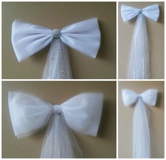 white tulle pew bow church aisle decor wedding pew bow bridal shower decortulle pew bowchurch pew decortulle wedding decorchair bows