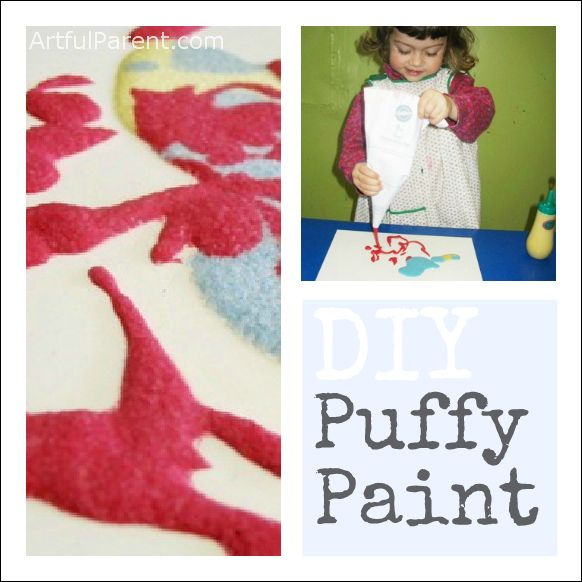 This DIY puffy paint is always a hit with kids! Both making it and squeezing it onto the art surface!