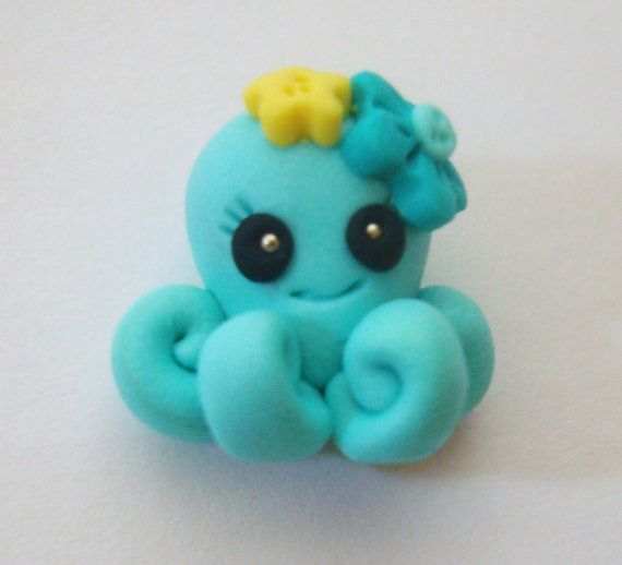 M2MG Sea Splash Octopus Polymer Clay Charm Bead by rainbowdayhappy, $2.25