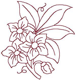 Machine Embroidery Design: Redwork 3 Flower Bouquet