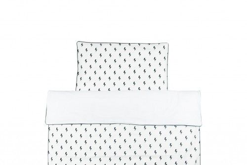 Monochrome scandi style duvet cover with lighting bolts pattern.