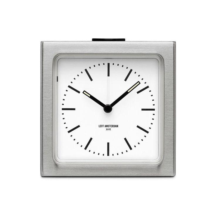 Block Clock, Stainless Steel/White