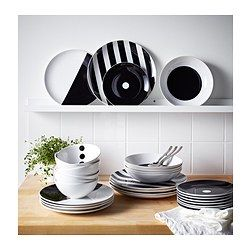 IKEA - TICKAR, Plate, The graphic pattern is inspired by Scandinavian simplicity and gives the dinnerware a stylish character.The dinnerware has the same shape as the solid coloured series FÄRGRIK, which makes it easy to combine them when you want to create a personal table setting.