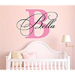 """Nursery Custom Name and Initial Wall Decal Sticker 36"""" W by 26"""" H, Girl Name Wall Decal, Girls Name, Wall Decor, Personalized, Girls Name Decor, Nursery Bedroom Baby Decor PLUS FREE HELLO DOOR DECAL"""