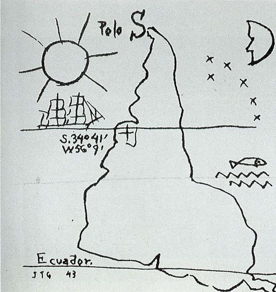 """Há 520 anos, em 12 de outubro de 1492, Cristóvão Colombo descobria a América. O artista uruguaio Joaquin Torres García (1874-1949) propôs um mapa que fosse assim: olhando o mundo de outra perspectiva. E nós estaríamos acima. Uma outra América possível. """"Nosso norte é o Sul. Não deve haver norte, para nós, senão por oposição …"""