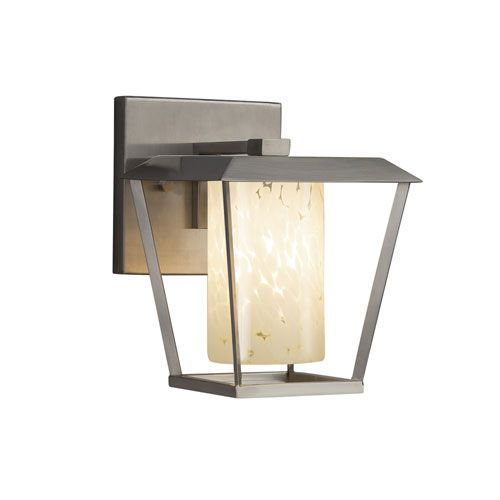 Fusion - Patina Brushed Nickel LED Outdoor Wall Sconce with Droplet Artisan Glass