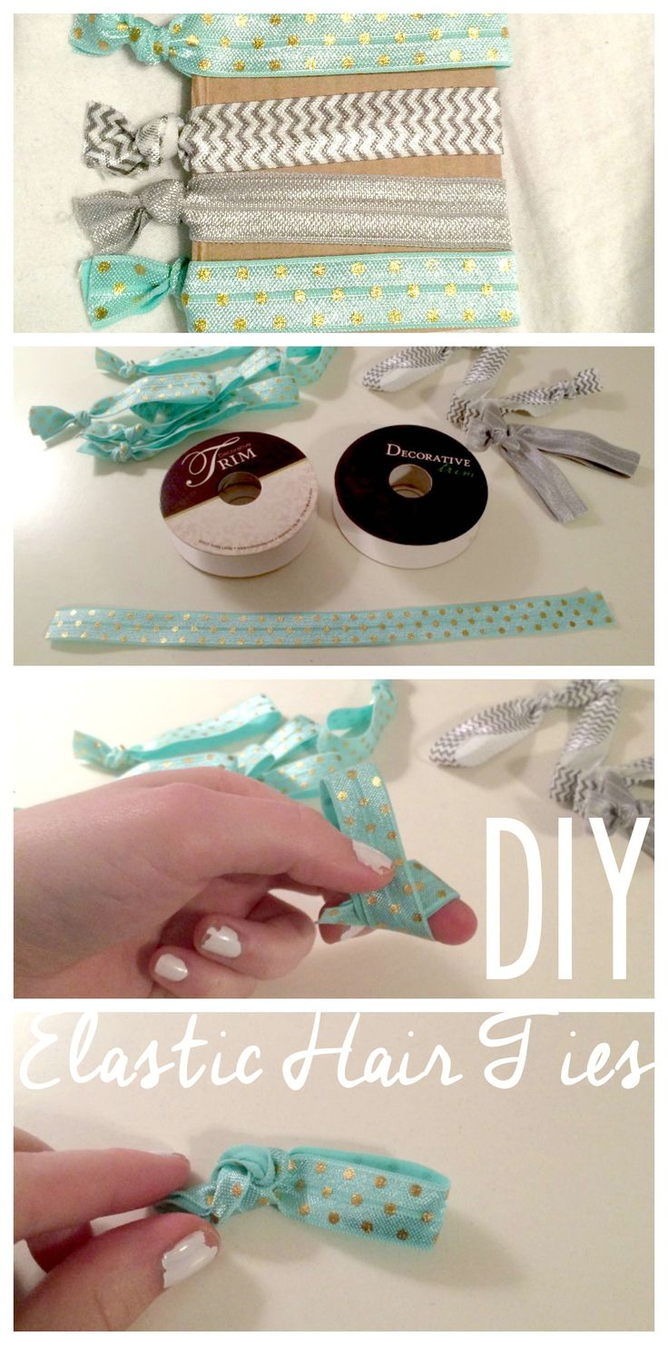 DIY elastic hair ties.  Super cute and can be worn as a bracelet.  Doesn't kink or damage hair like traditional hair ties.  Can make up to 17 hair ties for only $3!