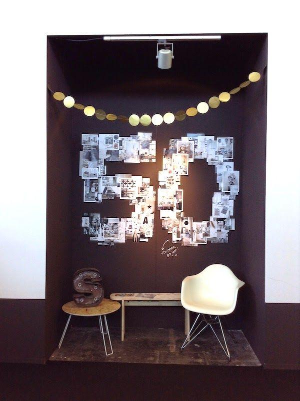 Zwart/wit foto/s in de vorm van een cijfer of letter voor op de muur in de woonkamer of slaapkamer.