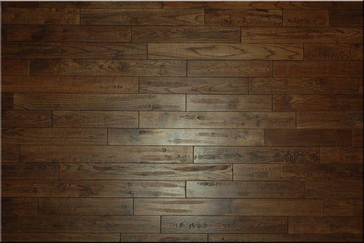 "Natural Ebony Red Oak ""Hand scraped"" Wooden Flooring in living room"