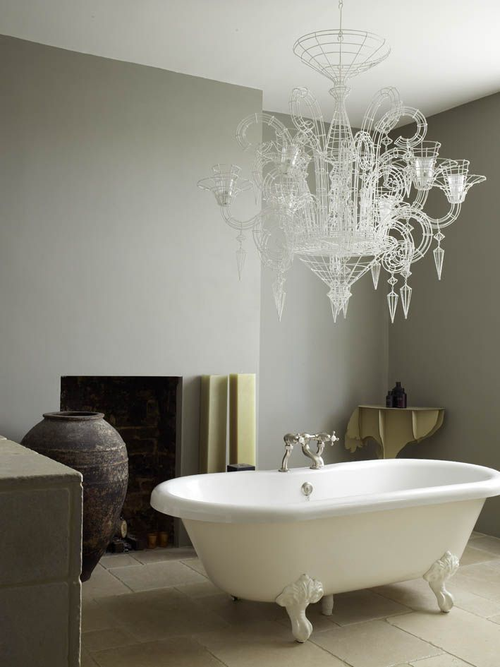 Modern Country Style: Designer Abigail Ahern's Bathroom: Two Different Paint Colours, Two Different Looks Click through for details.