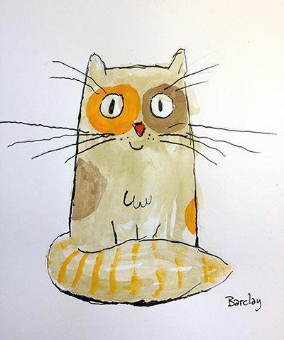 watercolor cat illustration / drawing
