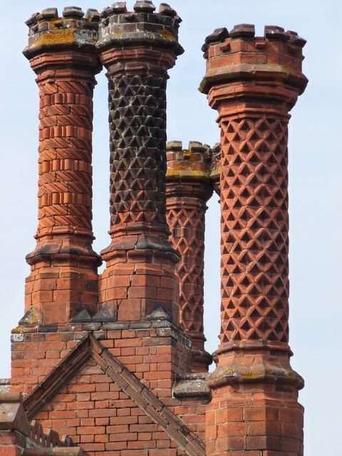 An example of the roofs and chimneys that the children would have to climb across, hide behind, and navigate (Tudor Chimney stacks at Holkham in Norfolk)