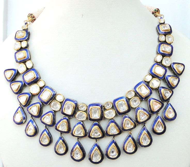 VINTAGE ANTIQUE 20K GOLD DIAMOND POLKI KUNDAN NECKLACE Karnataka South INDIA