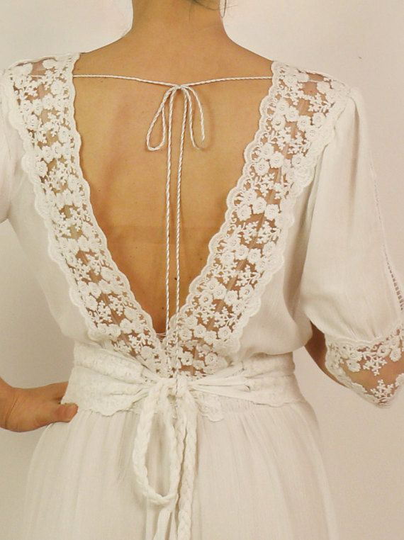 Rustic wedding dress boho wedding dress backless by Anaoiss