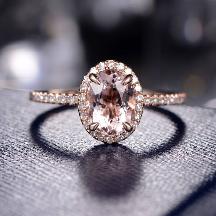 Rose Gold Engagement Ring Oval Cut Morganite Ring Halo Diamond Micro Pave Half Eternity Wedding Ring Women Delicate Promise Anniversary Ring by MoissaniteRings on Etsy https://www.etsy.com/listing/517081580/rose-gold-engagement-ring-oval-cut