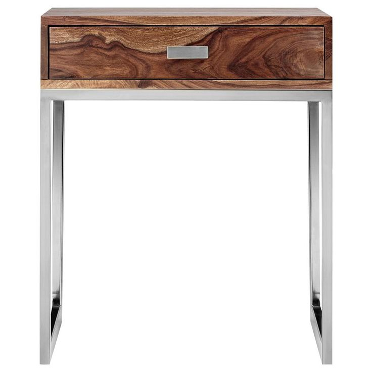 Pin By Product Bureau On Tables Coffee Side: Wood Nightstand With Stainless