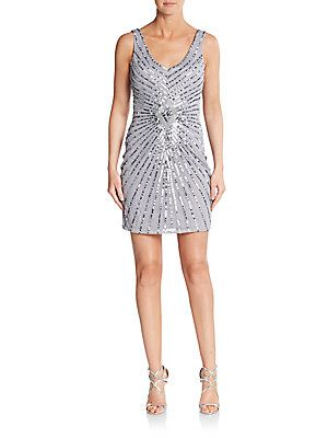 Aidan Mattox Sequined Starburst Dress - Silver - Size 4