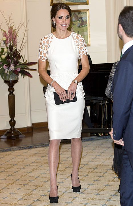 Kate Middleton dazzled in a white Lela Rose dress at the Governor-General's reception in Canberra, Australia, on April 24.