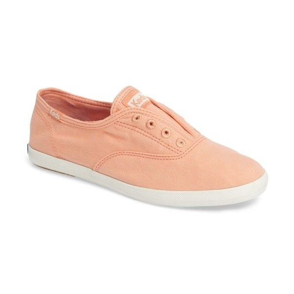Women's Keds 'Chillax' Ripstop Slip-On Sneaker (860 MXN) ❤ liked on Polyvore featuring shoes, sneakers, peach pink, slip on sneakers, keds footwear, peach shoes, keds and keds sneakers