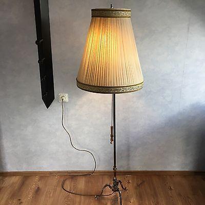 Wunderschöne Stehlampe Messing mit Lampenschirm Zugbandschalter