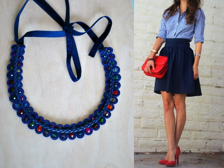 statement necklace SOUTACHE JEWELRY NECKLACE navy soutache and colorful beads by rodicasoutache on Etsy