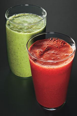 ... carrots, and celery; Parsley, Kale, and Berry Smoothie (dark green