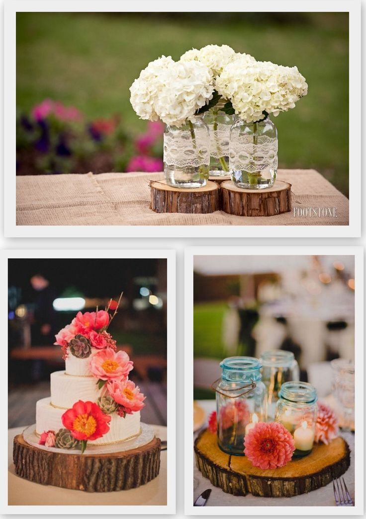 Wood inspired wedding decor floral design