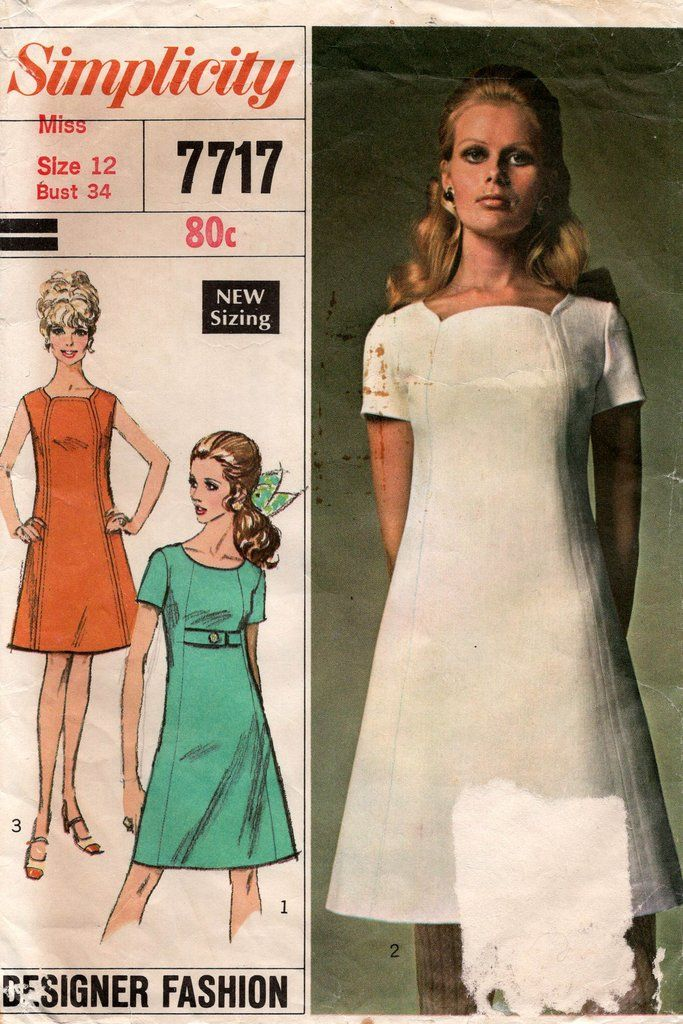 Uncut Bust 34 Simplicity 8184 Designer Fashion Dress in 2 Lengths 1969