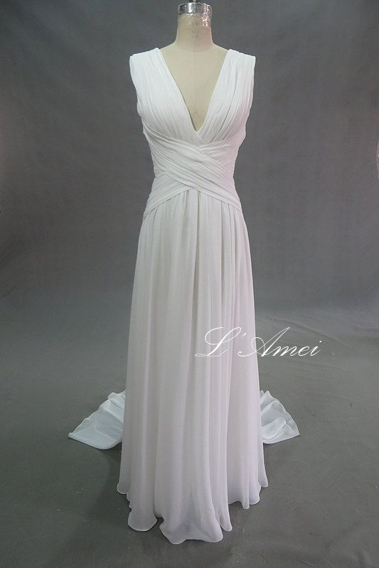 Romantic Custom Made Soft Chiffon Sleeveless Beach by LAmei