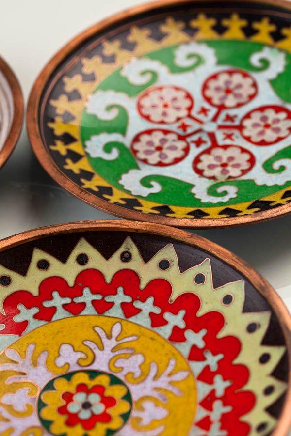 Contemporary Cloisonné Decorative Plates