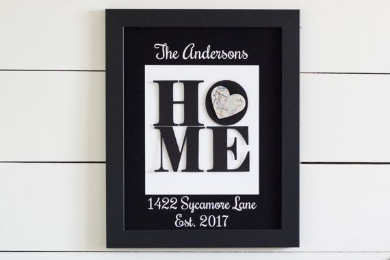 Unique Housewarming Gift New Home Address Art New Home Gift