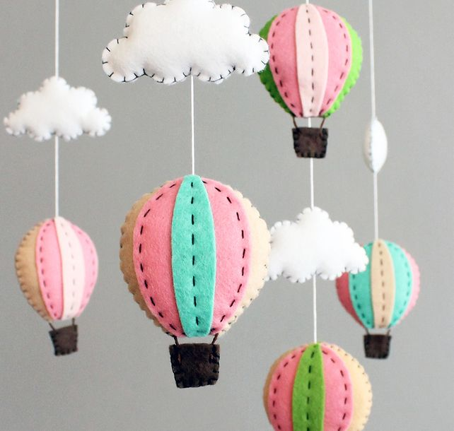 DIY baby mobile kit - make you own hot air balloon crib mobile, pink and green, by Button Face Co via Folksy,  £28.00